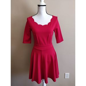Lulu's Red Fit-and-Flare Scalloped Skater Dress S